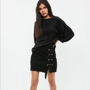 black lace up side denim skirt